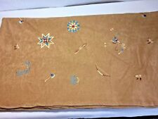 """60"""" x 3 Yds. Tan Microfiber Faux Suede Southwestern Embroidered Print Fabric"""