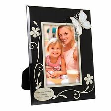Personalised Engraved Black Glass Butterfly Photo Frame -  Mothers Day Birthday