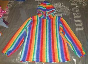 Childrens hoodie. Fleece rainbow hearts stars. Girls. Boys