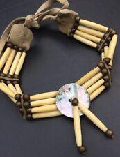 Handmade Native American Men's Bone Brass Bead Choker Necklace Jewelry