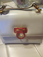 VINTAGE SALVATORE FERRAGAMO FLAP IVORY CLASSIC CROSSBODY GOLD HARDWARE BAG
