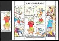 GUERNSEY 1993 RUPERT & FRIENDS M/S + a Single Stamp Mint Never Hinged/MNH