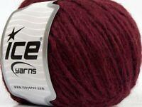 Lot 8 Alpaca Merino Wool Bulky winter Burgundy color Luxury yarn 50g /82yd