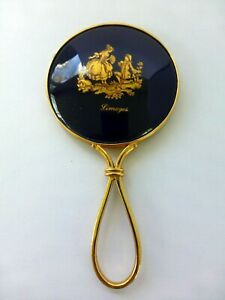 """Vintage Limoges Porcelain signed Hand Mirror Cobalt Blue Gold Plated 4-1/2"""""""