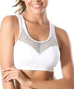 Think of Me Women's Mesh-Contrast Sports Bra (White, M)