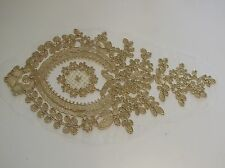 Gold floral lace applique with gold cords / gold tulle lace motif sold by piece