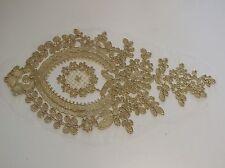 Pizzo floreale in oro Oro Applique con cavi/Oro Tulle Pizzo Motivo venduto per pezzo