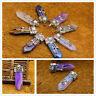 Natural Gemstone Vintage Tibetan Silver Hexagonal Pointed Healing Pendant Beads