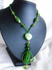 XXL LONG GLASS BEAD MURANO LAMPWORK GLASS TASSEL necklace gold green DAISY OOAK