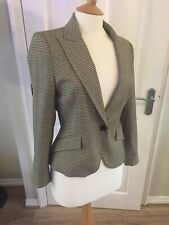 ZARA Brown Cream Check Riding Hacking Jacket Blazer Elbow Patches Size L 12