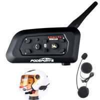 V6 BT Bluetooth Motorcycle Helmet Interphone Intercom Headset 6 Riders 1200M USA