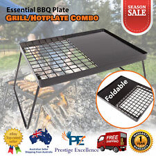 Outdoor BBQ Grill Plate Folding Hot Plate Campfire Portable Camping Barbecue NEW