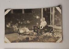 Vintage Photograph B&W c1920 boy girl riding wagon towed by goat brick house