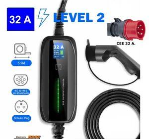 EV Ladekabel m. Display 32 Ampere Typ 2 / 1 Phasig CEE Schnell Ladegerät Wallbox