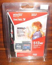 VERIZON SanDisk SDSDM-512-V10M Mini SD 512 MB Flash Memory Card w/Adapter Lock
