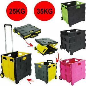 Folding Boot Cart Shopping Strong Trolley Pull Handle Storage Box Basket Wheels