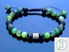 Cancer Chrysoprase Onyx Lava Birthstone Bracelet 7-8'' Macrame Healing Stone