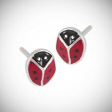 Ladybug Post or Stud Earrings - Enamel over SOLID Sterling Silver