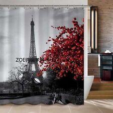 Aestheticism Paris Maple Tower  Bathroom Fabric Shower curtain w/ 12 Hooks Gift