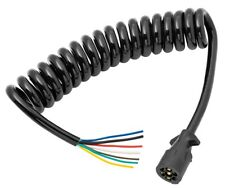 Coiled 7-Way RV Round Tow Plug Harness w/ 6 ft Cable Molded Trailer Connector