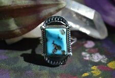 Elegant Navajo Sterling Silver Ring Free Form Sleeping Beauty Turquoise Size 8.5