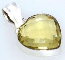 Lemon Quartz Heart Pendant, Faceted Genuine Gemstone 925 Sterling SILVER Jewelry