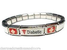 Diabetic Diabetes Insulin Superlink 9mm Italian Charm Medical Alert ID Bracelet