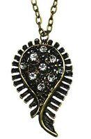 Vintage Art Deco cutout bronze crystal leaf necklace