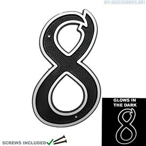 House Number 8 Plaques Sign Home Door Gate Numbers High Visibility Glow Dark
