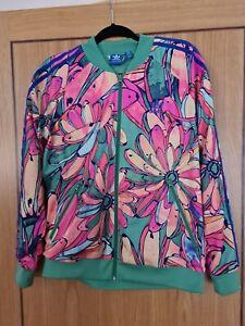 Ladies Adidas Zip Top Jacket UK18 Multicoloured Floral