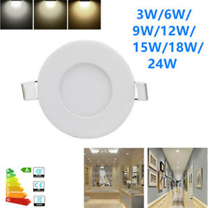 3W-24W LED Recessed Ceiling Panel Downlight Slim Lamp Fixture 2800K-6000K