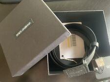 New Dolce & Gabbana Men's Belt Black Leather Size 115 Logo Distressed RETAIL$560