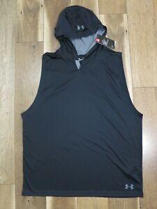 Under Armour 1321730 Men's Black Sleeveless Hooded Training Shirt Sz XXL NWT