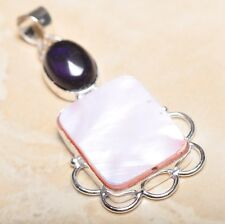 "Mother of Pearl Abalone Sea Shell 925 Sterling Silver Pendant 2.25"" #P14313"