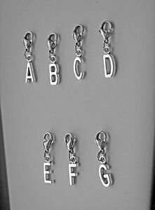 Alphabet Charm, choose A to Z,Initial,Tibetan Silver, Clip on to Charm Bracelets