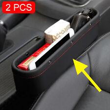 Black 2pc/Kits Car Front Seat Gear Gap Slit Odds Catcher Box Storage Accessories