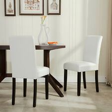 Item 4   Set Of 2 Elegant Design Modern White Leather Parson Dining Chairs  Furniture NEW