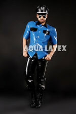 Officer Style Latex Top Shirt Rubber Latex Blouse with Classic Collar