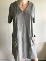 Papaya Weekend Taupe Size 12 Ladies Short Sleeved Moleskin Shift V-Neck Dress