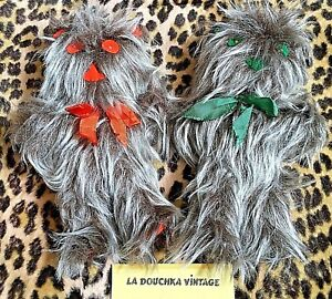 FRENCH 1970s UNIQUE STUFFED ANIMALS~ LOT OF 2 ~CHEWBACCA~ HANDMADE IN FRANCE~NEW
