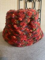 AQUA Womens Chunky Knit Bucket Brim Hat Red Wool Blend Made in Italy