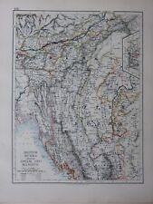 1901 Victorien Carte Inde British Burma Assam & Manipur