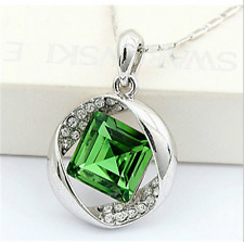NEW Womens Green Diamond Crystal Rhinestone Silver Chain Pendant Necklace ---
