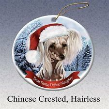 Holiday Pet Gifts Chinese Crested, Hairless Santa Hat Dog Porcelain Ornament