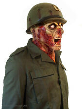 SCARY ZOMBIE MASK MENS ARMY FANCY DRESS SOLDIER LATEX HORROR DELUXE HALLOWEEN