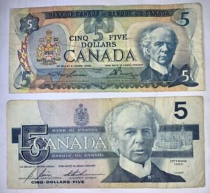 2 Canada Five Dollar Banknotes Generations Taken From Circulation