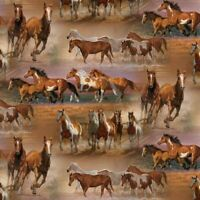 Horses in the field Brown David Textiles Wild Wings Cotton Fabric by the yard