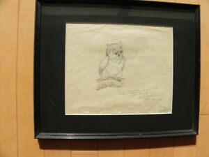 Disney Original Color Drawing of Owl, from Bambi 1940.Signed Claire Weeks