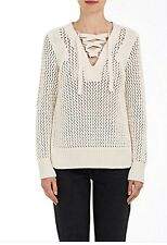 NWT $395 Derek Lam 10 Crosby Lace Up Cotton Sweater Size Medium Beige