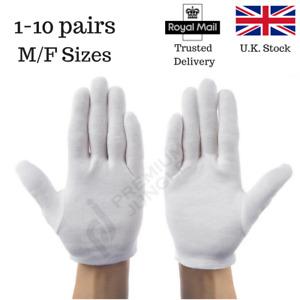 White Cotton Gloves Beauty Moisturising Eczema Butler Waiter